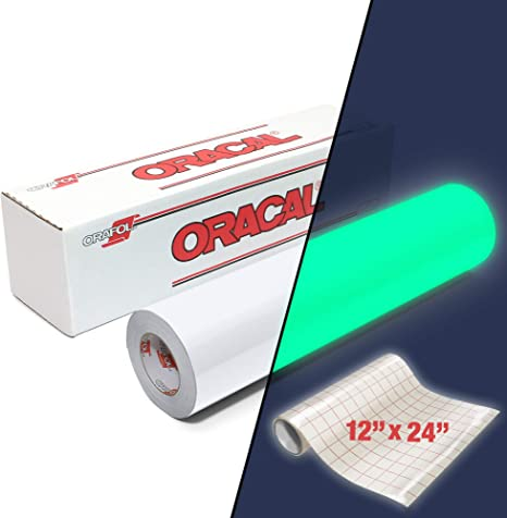 Amazon Com Oracal 9300 Hi Energy Glow In The Dark Luminescent Cast Vinyl 12 Roll For Silhouette Cameo Cricut Including 12 X 24 Roll Of Clear Transfer Paper 1 Roll Pack 12 X