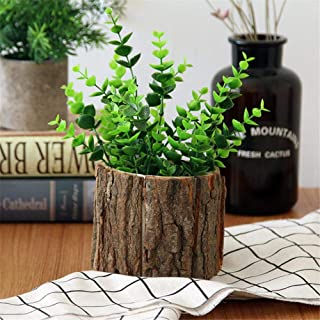 Wooden Succulent Pots Vintage Gardening Natural Bark Pots Desktop Forest Style Wooden Small Flower Pots With Bark Flower Pot