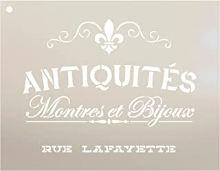 Antiquities Montres Et Bijoux Rue Lafeyette Stencil by StudioR12 | French Words - Watches Jewelry Reusable Mylar Template | Painting, Chalk, Mixed Media | Wall Art - STCL2329 - SELECT SIZE (24