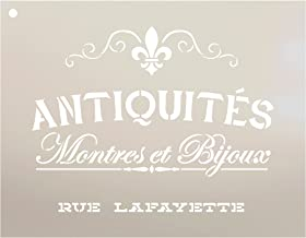 Antiquities Montres Et Bijoux Rue Lafeyette Stencil by StudioR12   French Words - Watches Jewelry Reusable Mylar Template   Painting, Chalk, Mixed Media   Wall Art - STCL2329 - Select Size (12