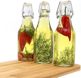 Annfly Lot de 3 bouteilles en verre avec couvercle rabattable - Pour boissons, huile, vinaigre, bière - 250 ml