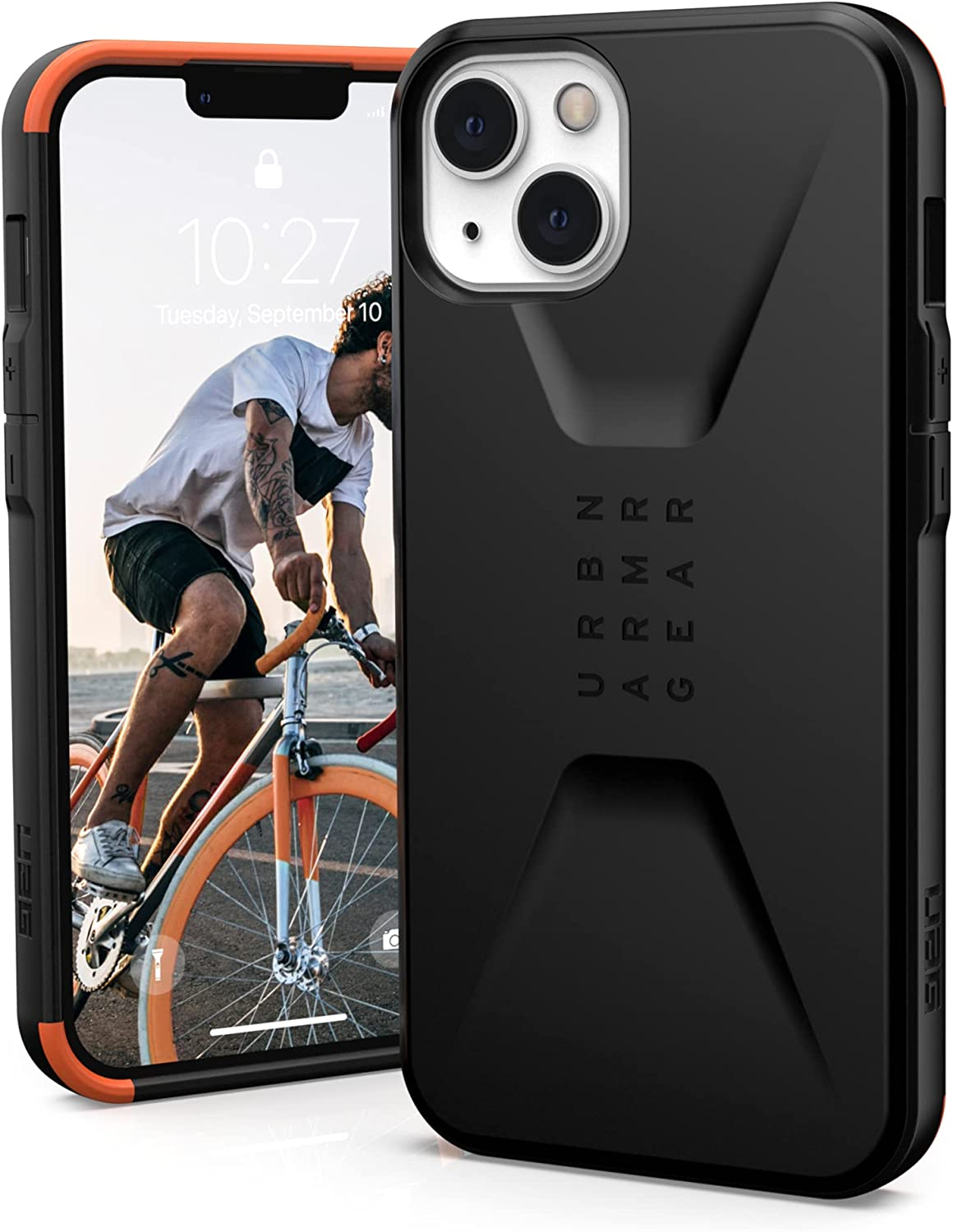 URBAN ARMOR GEAR UAG Designed for iPhone 13 Case [6.1-inch Screen] Sleek Ultra-Thin Shock-Absorbent Civilian Protective Cover, Black
