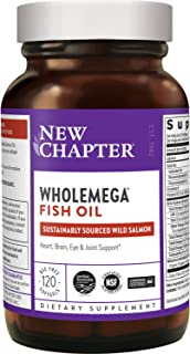 New Chapter Wholemega Fish Oil Supplement - Wild Alaskan Salmon Oil with Omega-3 + Astaxanthin + Sustainably Caught - 120 ...