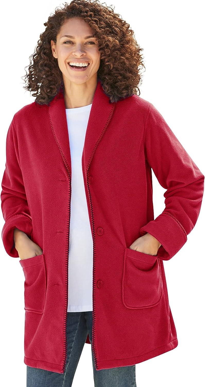 Woman Within Women's Plus Size Shawl Collar Fleece Coat