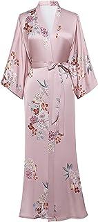 Coucoland Damen Morgenmantel Maxi Lang Satin Sommer Kimono Strandkleid Blumen Muster Gedruckt Strickjacke Kimono Bademantel Damen Lange Robe Blumen Schlafmantel Girl Pajama Party