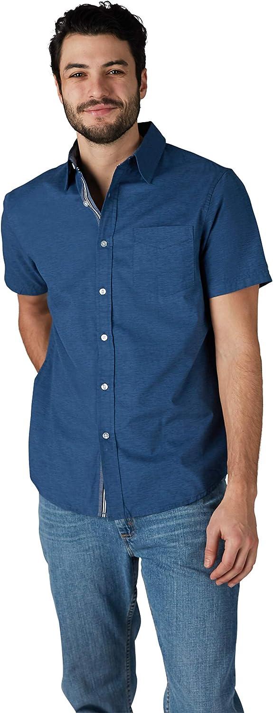 Lee Men's Surprise price Textured Ranking TOP20 Short Sleeve Down Button Shirt Stretch
