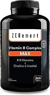 Complejo vitaminico B Max. 365 Comprimidos | 8 Vitaminas B + Colina & Inositol. | El más completo y con altas dosis | Vegano |