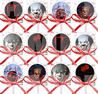 IT Movie Scary Creepy Clown Lollipops Party Favors Decorations Movie Lollipops w/ Red Ribbon Bows Party Favors -12, Hallow...
