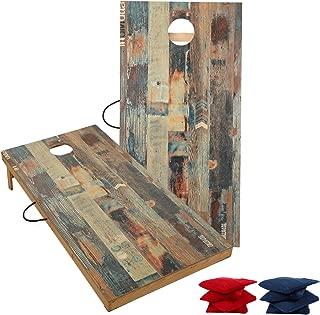 TIANNBU Cornhole Board Set Bean Bags Toss Game, Regulation Size 2x4ft Tailgate Size 3x2ft Junior Size 1x2ft 3 Sizes Wood Corn Hole Boards Portable of 8 Bean Bag for Indoor Outdoor Beach Backyard