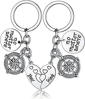 Best Friend Keychains No Matter Where Compass Split Broken Heart Friendship Gift Birthday Gifts Graduation Gifts