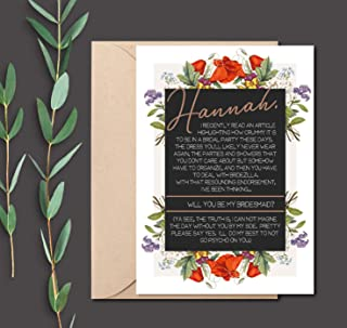 Personalized Be My Bridesmaid Card Funny with Envelope, Will You Be My Bridesmaid