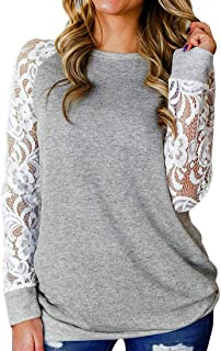 S-Fly Womens Loose Fit Round Neck Long Sleeve Crochet Lace Casual T-shirt