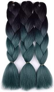 Jumbo Braiding Hair 3pcs (black/dark green) Ombre Braiding Hair Extension For Braiding Twist