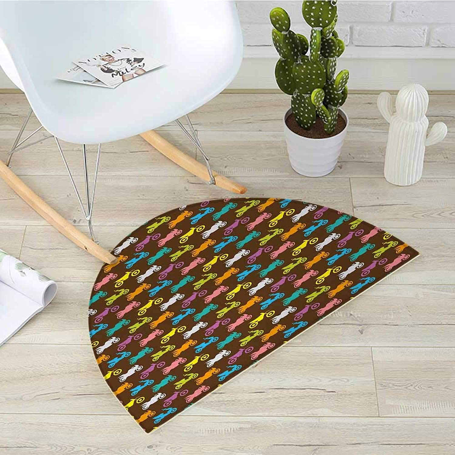 Motorcycle Semicircle Doormat colorful Silhouettes of Different Motorcycles Retro Style on Brown Background Halfmoon doormats H 39.3  xD 59  Multicolor