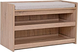 Happy Home – Banco zapatero con asiento, 2 pisos, zapatero para 6 – 8 pares de zapatos, asiento de madera para entrada, pasillo, salón, porche