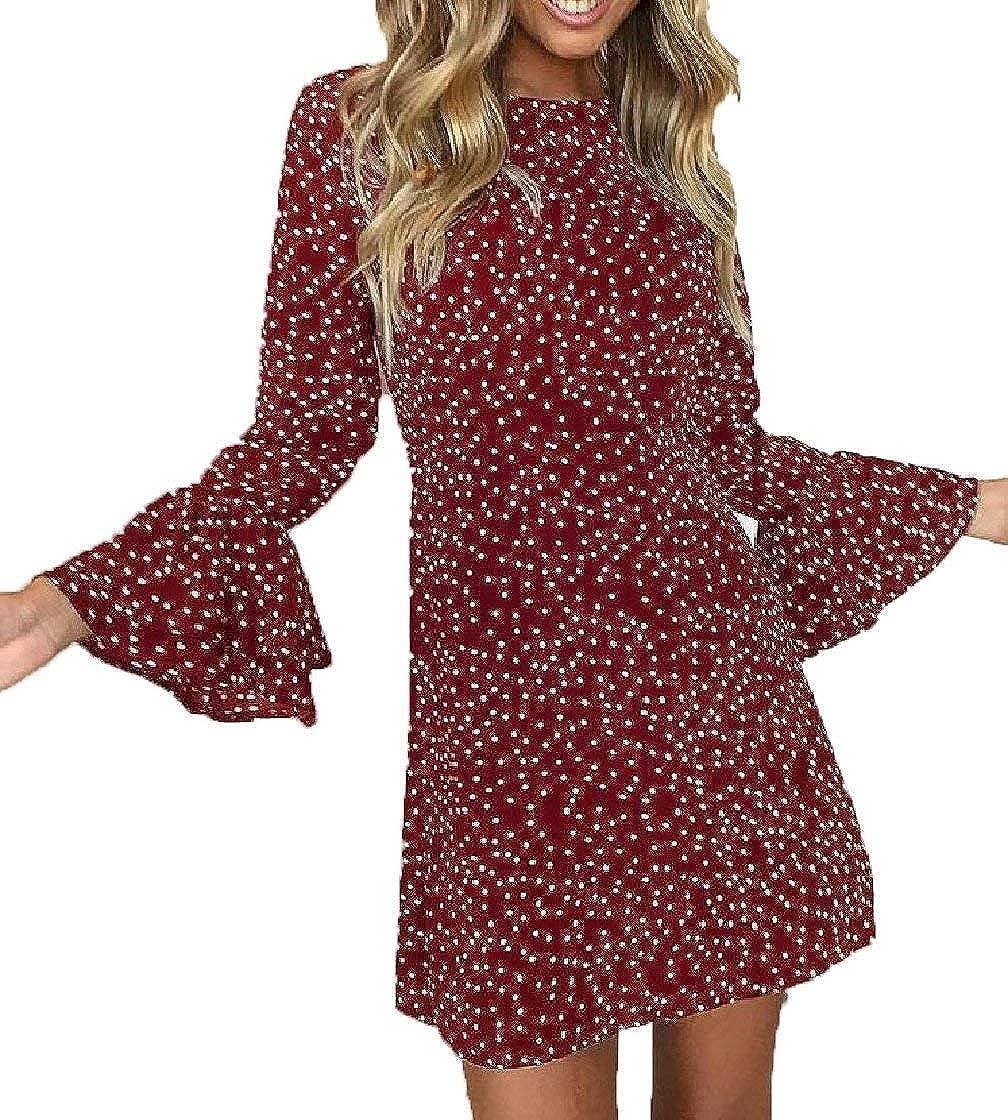 Hadudu Womens Causal Long Bell Sleeve Polka Dot Round Neck Dress Casual Dress