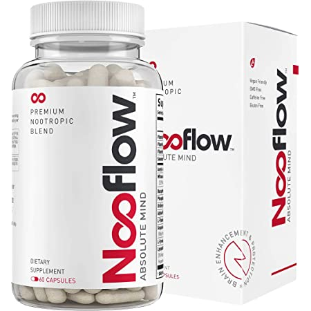 Nooflow Nootropic Brain Booster Supplement   The Premium Focus, Memory, Mood, Energy & Brain Health Formula   Smart Boost of 14 Ingredients for Natural Clarity Support   USA-Made Pills   60 Capsules