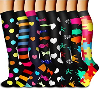 Copper Compression Socks Women & Men Circulation 8 Pairs - Best for Running,Athletic Sports,Travel,Pregnancy