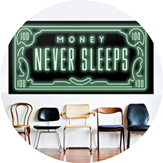Money Never Sleep HD Canvas Print Nordic Quotes Letter Money Art Home Decor Wall Art Painting Print on Canvas Office Art Culture,20x40cm no Frame