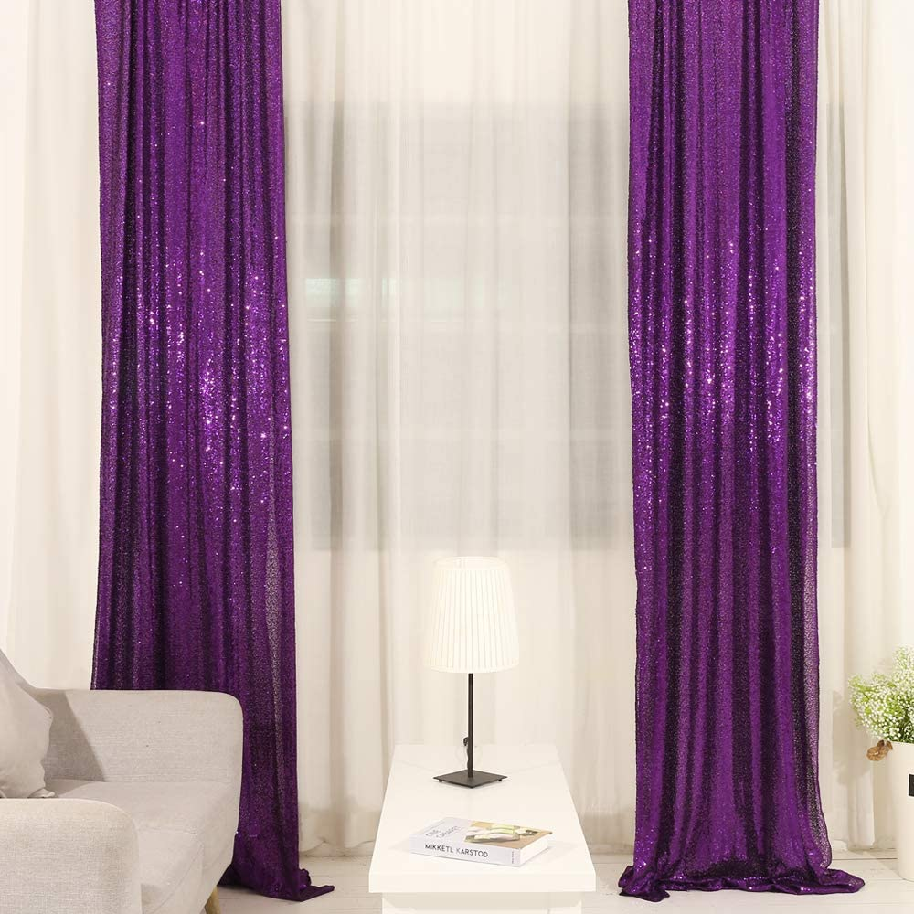 TRLYC Weddings Party Decoration Sequin Backdrop Window Curtain for Wedding Champagne 2Ft Width8Ft High 2 Panel