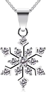 Women Necklace Pendant Snowflake Jewelry 925 Sterling Silver Cubic Zirconia 45cm Chain