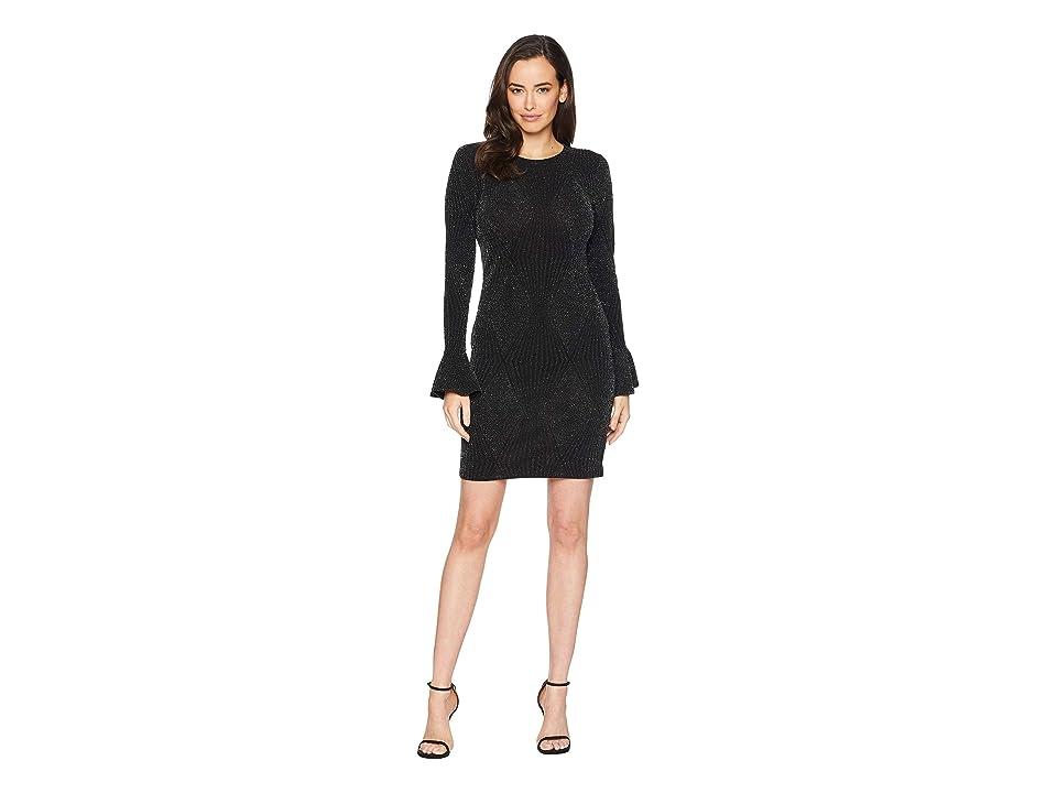 MICHAEL Michael Kors Bodycon Flounce Sleeve Dress (Black/Silver) Women