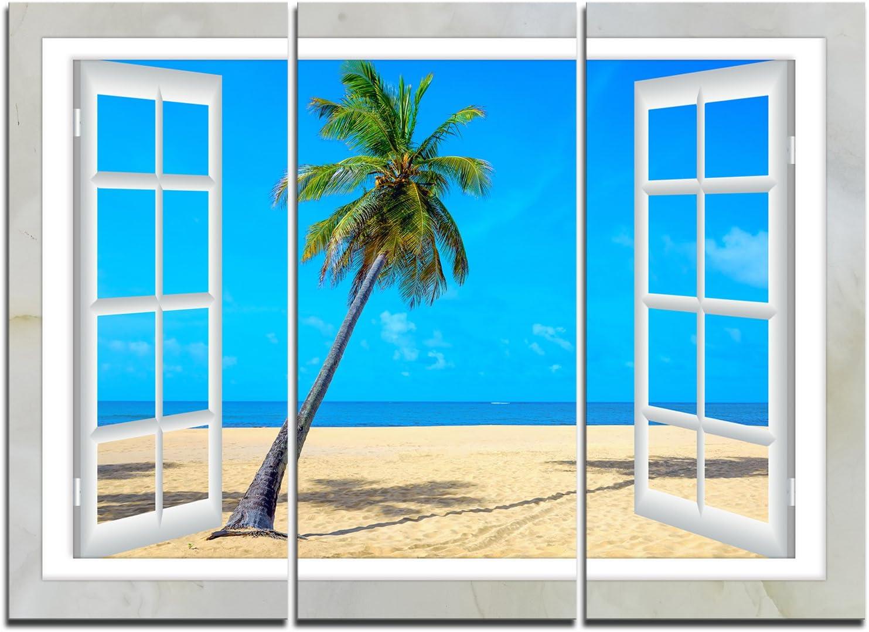 Open Window to Beach with Palm Canvas Seashore 毎日続々入荷 Large Art 超特価SALE開催 Extra