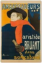 Ambassadeurs - Aristide Bruant Vintage Poster (Artist: Toulouse Lautrec, Henri De) France c. 1895 64502 (6x9 Aluminum Wall Sign, Wall Decor Ready to Hang)