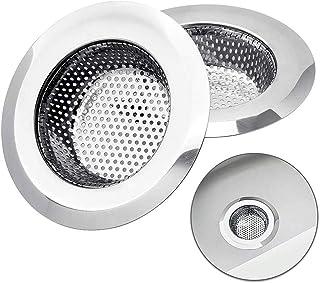 filtro per lavabo da 9 cm cappello di paglia per doccia e scarico dei capelli filtro a rete per piscina Mufee tappo rotondo in acciaio inox per il pavimento di scarico della piscina