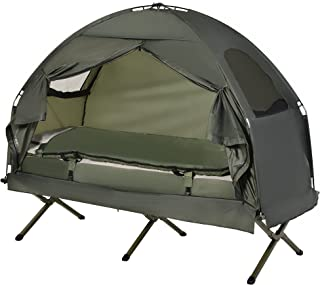 Outsunny All-in One Portable Camping Cot Tent with Air...