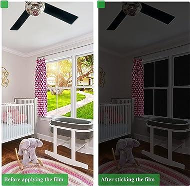 Coavas Blackout Window Film Sun Blocking Silk Privacy Static Cling Glass Sticker Total Cover for Kids Room Darkening Window T