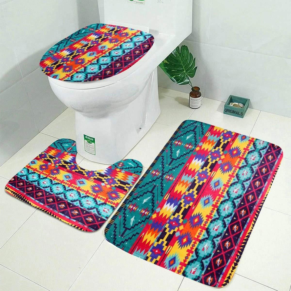 Bathroom Rugs and Mats Sets- 10PCS Bathroom Set Toilet Cover Mat