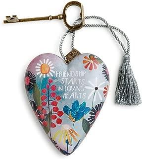 DEMDACO Friendship Loving Summer Floral 4 Inch Heart Shaped Resin Keepsake Decoration