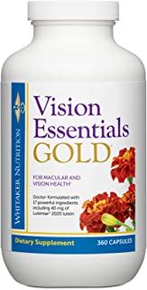 Dr. Whitaker's Vision Essentials Gold - Eye Health Supplement with 40 mg of Lutein Plus Vitamin A & Zeaxanthin - Supports Macular Health and Shields Eyes Against Blue Light Exposure (360 Capsules)
