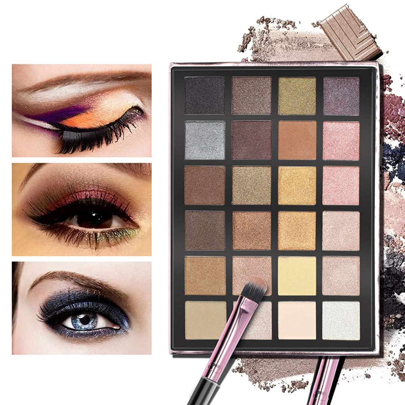 いつか錆びコミュニケーションAkane アイシャドウパレット ANYLADY 人気 ファッション ゴージャス 綺麗 欧米風 日本人肌に合う マット つや消し 持ち便利 Eye Shadow (24色)
