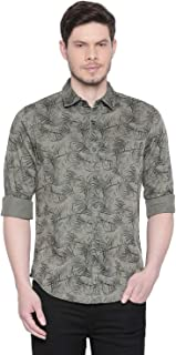Mufti Green Leaf Printed Full Sleeves Shirt