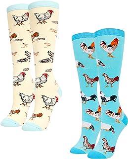 ZMART Women Knee High Socks Gift Box 2 Pack Funny Nurse Teeth Chicken Llama Taco Pickle Book Reading Socks