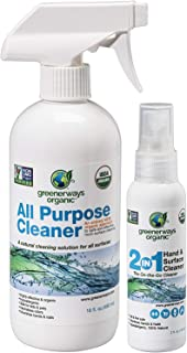 Greenerways Organic Natural USDA Organic All Purpose Cleaner for Home, Glass, Kitchen, Bathrooms, Windows, Effective Organ...