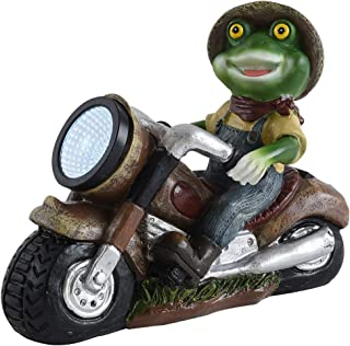 WANNA-CUL Funny Garden Frog Statue Outdoor, Solar Powered Garden Lights Frog Figurine for Outdoor Lawn Patio Yard Decorations(Fairy Garden Collection)