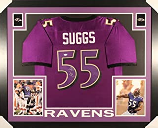 Terrell Suggs Signed Baltimore Ravens 35x43 Custom Framed Jersey (JSA COA)