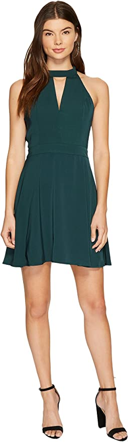 J.O.A. - Choker Neck Fit & Flare Lace Trim Dress