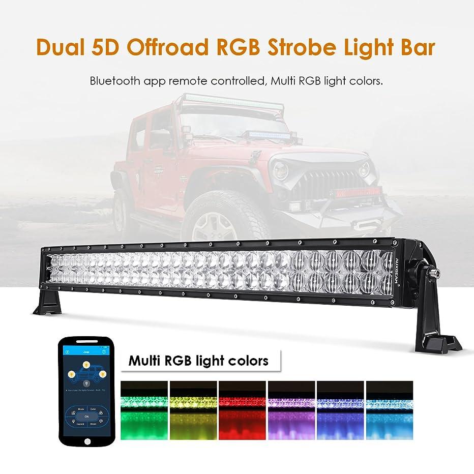 Auxbeam 32 Inch LED Light Bar RGB Multi-Color Curved LED Bar 5D V Series 180W Off Road Driving Light Spot Flood Combo Beam