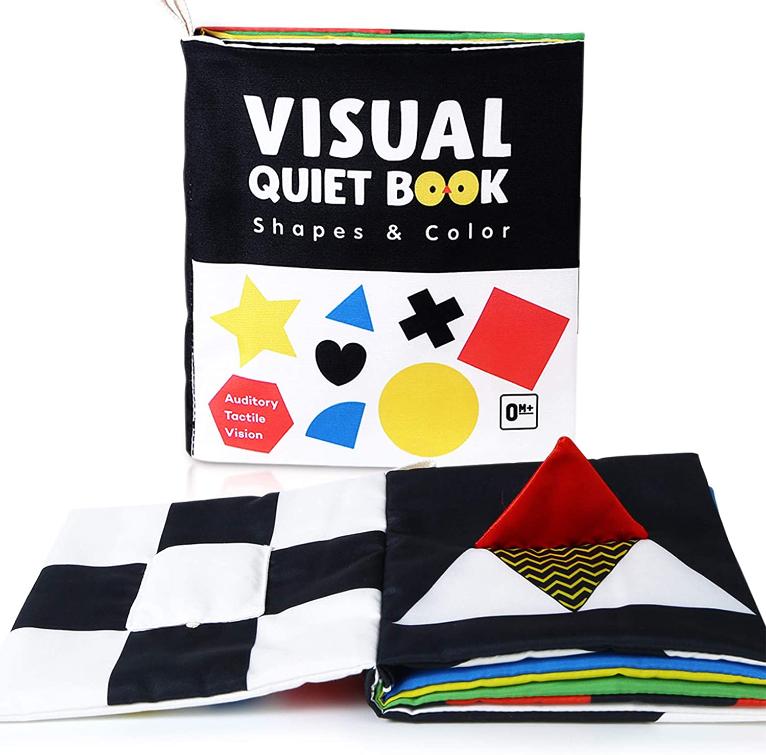 Soft Baby Books, High Contrast Black and White Books Non Toxic Fabric Touch and Feel Crinkle Cloth Books Early Educational Stimulation Toys for Infants Toddlers, Baby Gift Stroller Toys