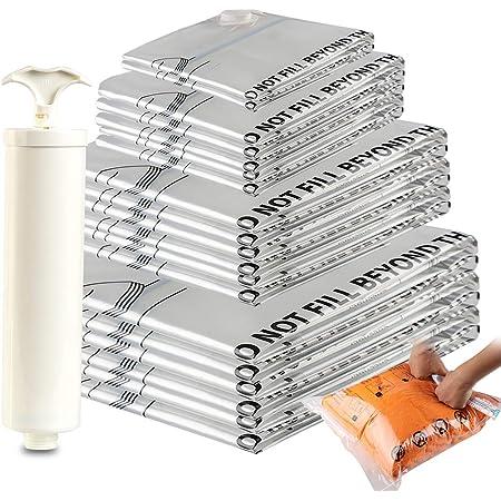 Amazon Brand - Eono Lot de 20Sacs de Compression de Haute qualité avec Pompe Manuelle 2Sacs de Voyage 2Petits Sacs 6Sacs de Taille Moyenne 5Grands Sacs 5Sacs Extra-Larges