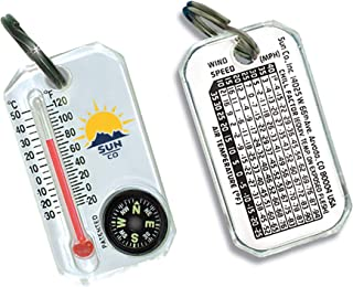 Sun Company Therm-o-Compass - Zipperpull Compass and Thermometer | Easy-to-Read Outdoor Thermometer and Compass