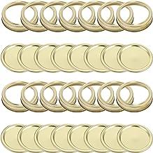 BESTonZON Zestaw pokrywek i opasek na słoiki, 20 sztuk, z pokrywkami i pierścieniami, złote nakrętki, przyprawy, blacha, s...