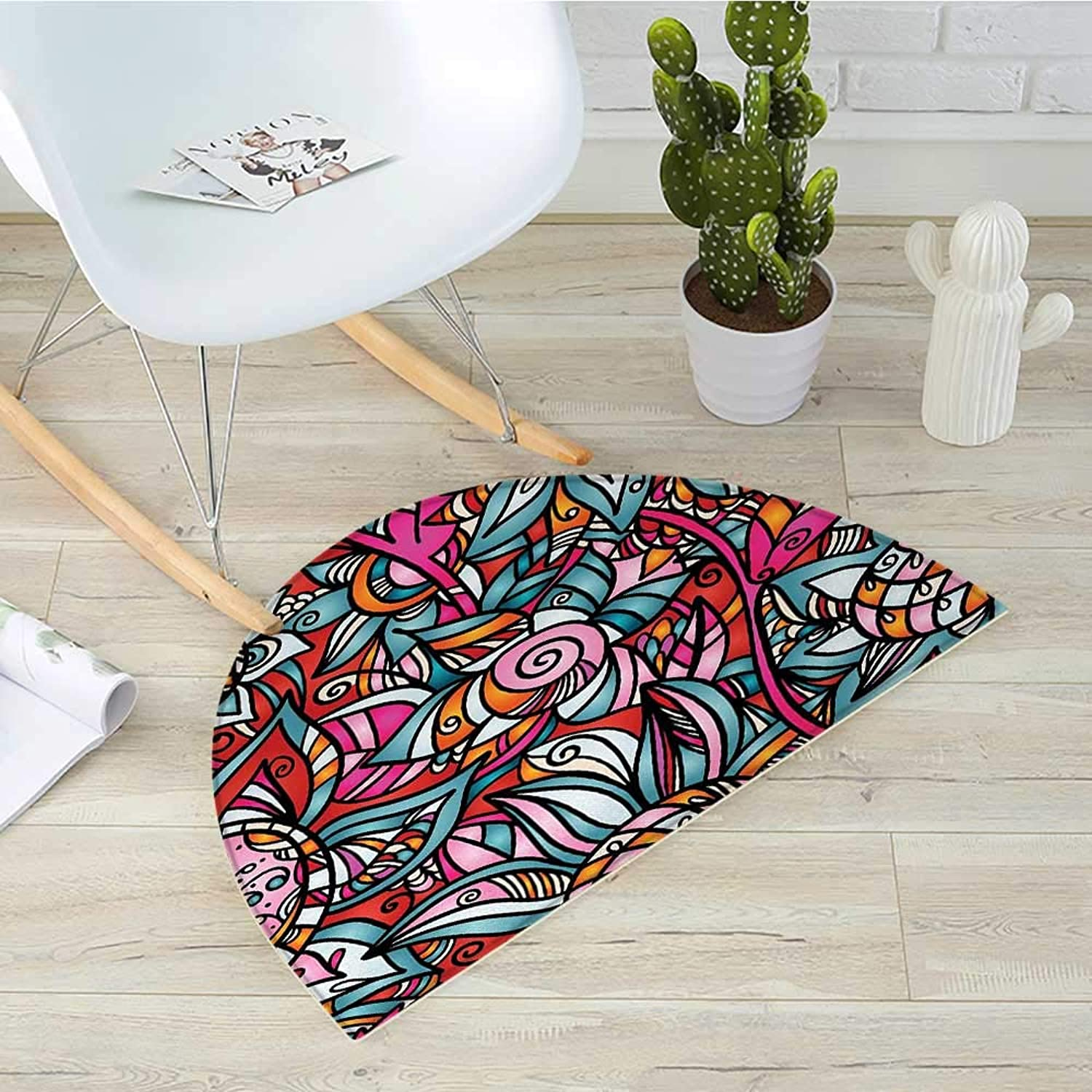 Abstract Semicircle Doormat colorful Florals Sunflower Mosaic Curl Ornaments Stained Glass Inspired Design Halfmoon doormats H 31.5  xD 47.2  Multicolor