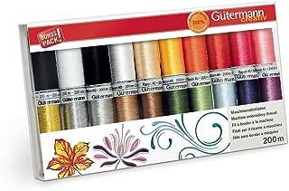 Gutermann Rayon 40 Colourful Machine Embroidery Thread Set 20 x 200m Reels