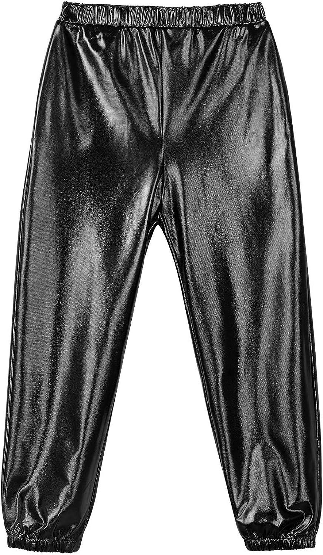 Mufeng Kids Girls Shiny Metallic Pants Gymnastics Ballet Dance Athletic Leggings Harem Pants Sweatpant Jogger Pants Black 12