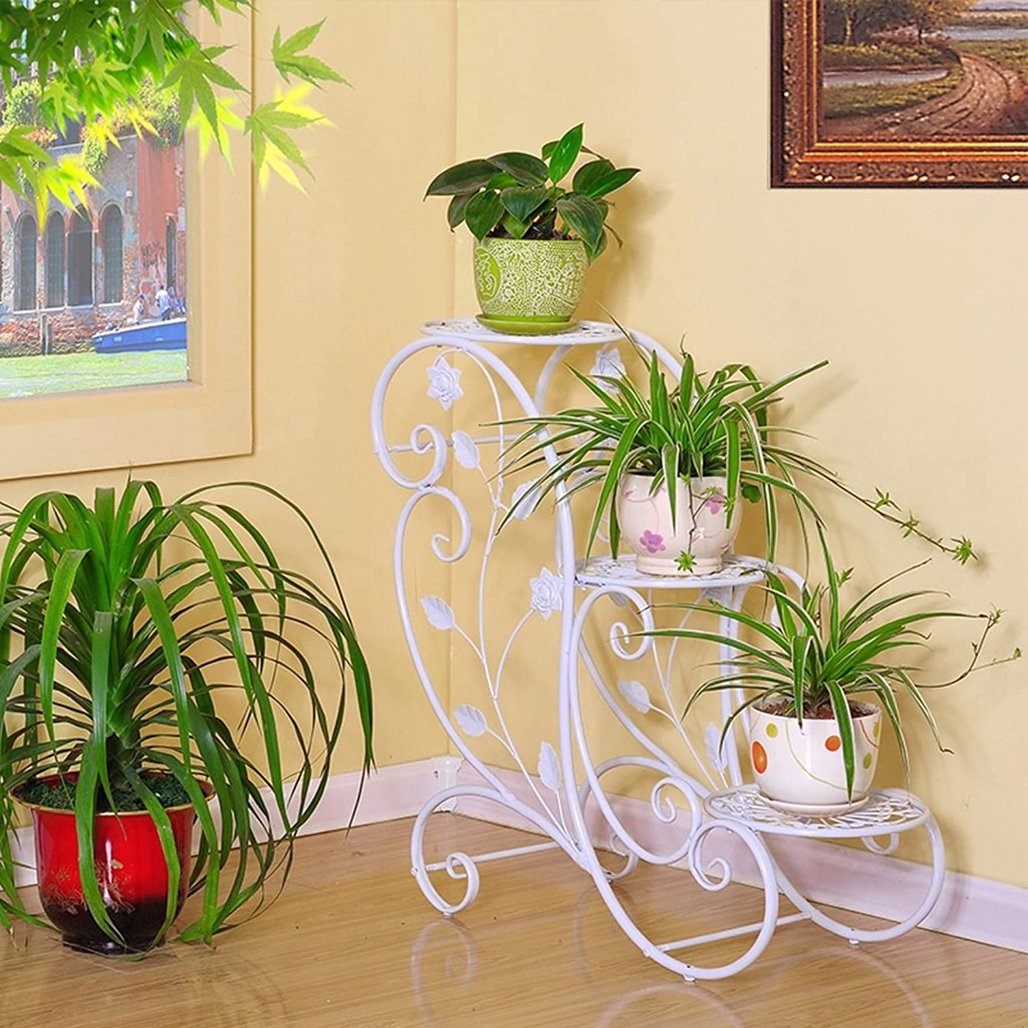 Iron Flower Stand Pot Rack Indoor Balcony Living Room Multi-Layer European Floor-Standing Green White Flower Stand
